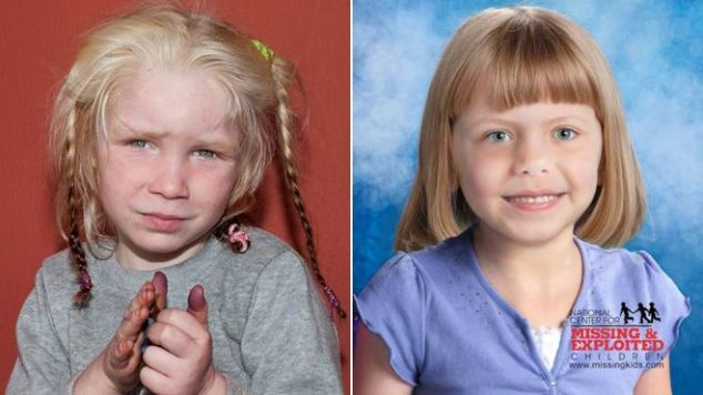 Maria, left, and a computer-generated image of what abducted Kansas City baby Lisa Irwin might look like today.