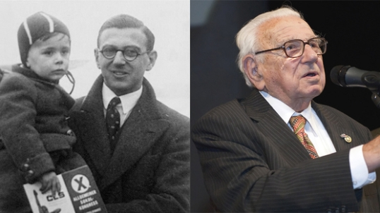 The one, the only, Sir Nicholas Winton, with one of the children he rescued.  BRAVO!