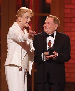 Angela Lansbury, who became a musical comedy mega-star in Jerry Herman's MAME, presents him with his well-deserved Lifetime Achievement Tony Award.  BRAVO!
