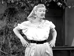 Lucille Ball in top form stomping the grapes in I LOVE LUCY.