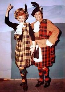 Lucy and Desi in kilts.