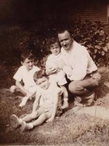 Grandpop Patrick Quinn with his boys, shortly before the war, my dad, Frank, Joe and Jimmy.