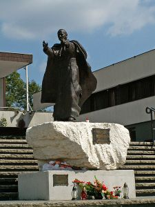 The John Paul II monument in front of the Church of Nowa Huta.