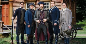 SONS OF LIBERTY: L to R: Ryan Eggold as Dr. Joseph Warren, Michael Raymond-James as Paul Revere, Ben Barnes as the fabulous Sam Adams, Rafe Spall as John Hancock, and Henry Thomas as John Adams