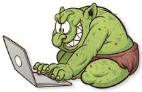 An Internet troll in action: anonymous, gleeful, and hiding behind a screen like The Wizard of Oz and his curtain.