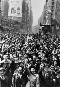 Hitler is KAPUT!  Times Square, packed to the max with happy people.