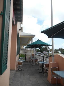 An empty restaurant in Hamilton, Bermuda.