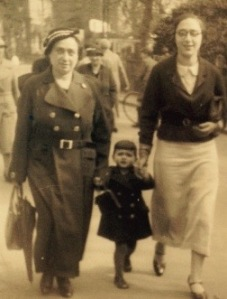 Mrs. de Leeuw, Annie and Rachel, circa 1935, in Holland.