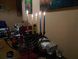 Fourth night of Chanukah at a friend's house last year.