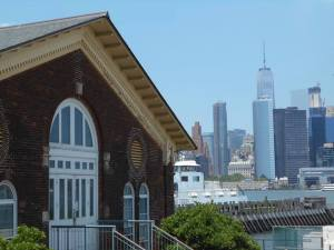 The old and the new: Governors Island building with the Freedom Tower across the river.