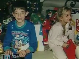 The last known photo of JonBenet, beside her brother, Burke. Christmas 1996.