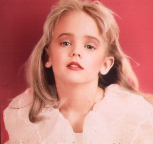 A photo of murder victim JonBenet Ramsey. First and foremost, who'd pose a 6-year-old child like THIS?